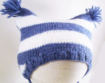 Cap wool striped baby blue and white