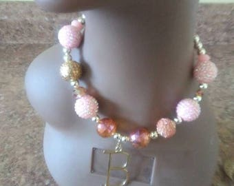 Pink and Gold initial necklace!