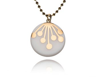 Porcelain ball chain necklace pendant round decorative motif: Umbel gold on white