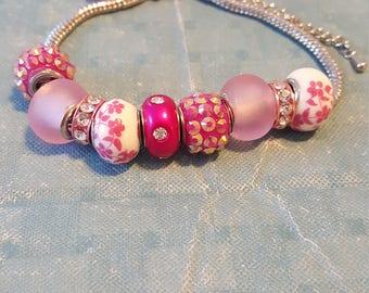 Sparkled pink charm bracelet