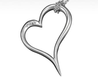 Open Your Heart Pendant with Ideal Cut Diamonds in Argentium Silver with Sterling Silver Chain