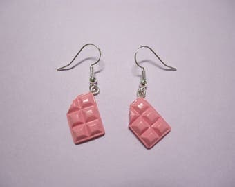 Light Pink Strawberry Choco Earrings