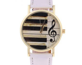 Leather Piano Music Note Watch