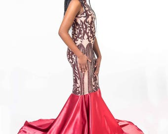 Nude and Red Mesh Sequin Accented Prom Dress with Satin Mermaid Tail