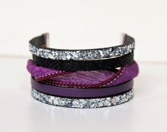 Leather Cuff Bracelet sparkly chic silk silver black leather bracelet boho jewelry ethnic multi strand