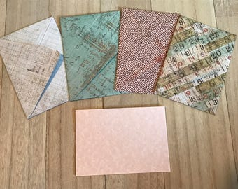 Vintage newsprint lined envelopes with notecards