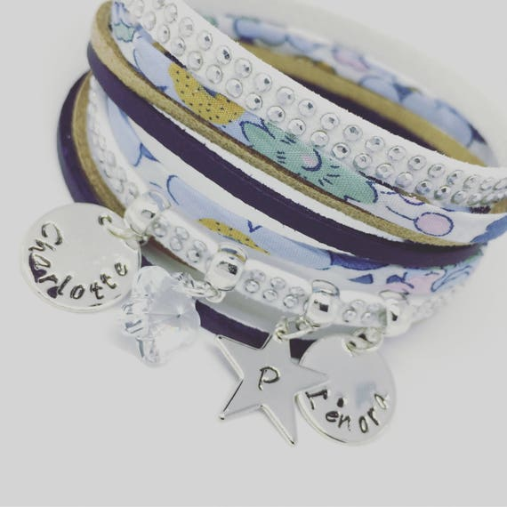 Liberty of London Betsy Denim & Swarovski - 3 prints custom Liberty bracelet