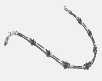 Hematite Grey Pearl Beaded Ankle Bracelet 10.5