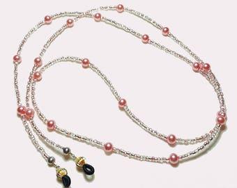 Rose Pink Pearl Beaded Eyeglass Chain