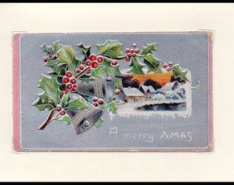 A Merry Christmas Silver Bells Vintage Greeting Card