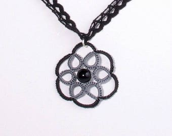Lace black and grey rose pendant necklace
