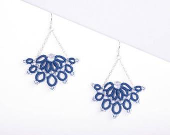 Lace blue fan earrings