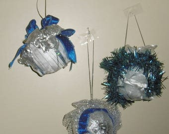 Christmas ornament 3 Christmas balls of styrofoam with silver and blue ribbons