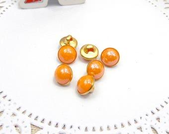 10 x Orange effect resin buttons round 9 mm