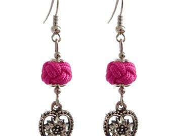 Valentine hot pink beads and silver embossed heart dangling earrings