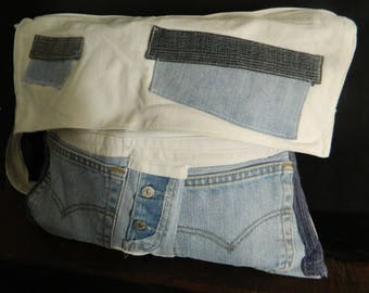Great jeans, linen, knitting bag