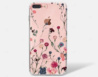 Light Boho Floral Watercolor Pattern Neutral Pink Flowers Clear iPhone Case Rubber iPhone Case iPhone 6 iPhone 7 iPhone 7 PLUS iPhone 6 PLUS