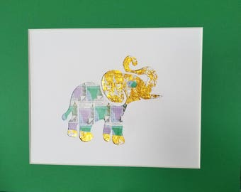 Postage Stamp Collage - Elephant (green)