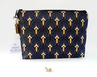 Art deco Fan print, washbag, cosmetic bag,1920s style,the great gatsby,dumpy makeup bag,toiletries bag,deco travel bag,
