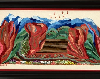 Hand Embroidered Red Rocks - 4