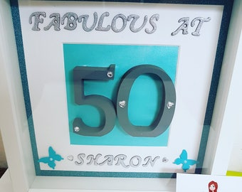 Handmade,50th,birthday,personalised,frame,block letters,glitter,silver letters