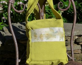 Handbag Lime Green with Eco Dyed Raw Silk detail on Pocket
