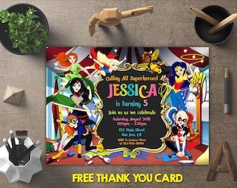 Dc Superhero Girls Birthday Invitation, Dc Superhero Girls Invitations, Dc Superhero Girls Invite, Party Printables, FREE 4x6 Thank You Card