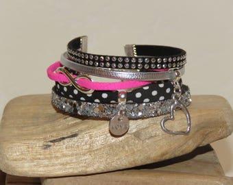 "Cuff Bracelet ""love - love"" leather, glitter, small bias peas, suede, black, silver, neon pink"
