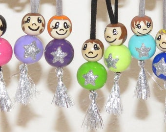 """Necklace for girls - snowman with wooden beads """"smile ball"""" fully customizable and hand painted figurine"""