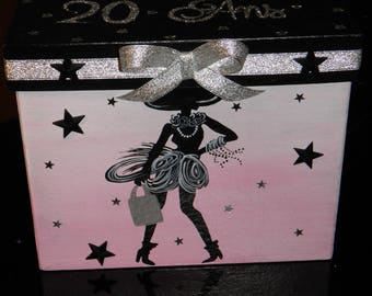URN for birthday, girl, very chic, fashion, class, shopping, paris, pink, black, silver, glitter, customizable.