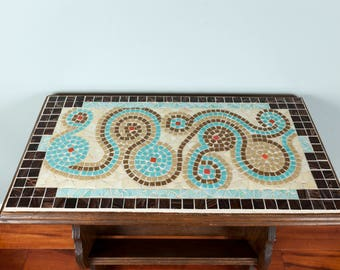 Mosaic stained glass and glass tile side table.