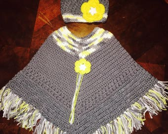 Girls Crochet Poncho and Hat