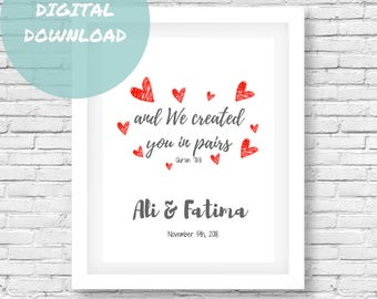 Islamic Printable Gift, Muslim Wedding Gift, Islamic Wall Art, Printable Gift, Islamic Wedding Gift, Digital Download, Qur'an Quotes