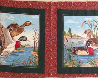 Vintage Mallard Duck Pillow Panel, Wildlife PIllow Panel, Duck Hunter Fabric Panel, Quilting Fabric