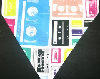Reversible Cassette Tapes / Bright Chevron Pattern Bandana
