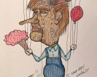 11x14 Original Pop Art Illustration The Puppet President