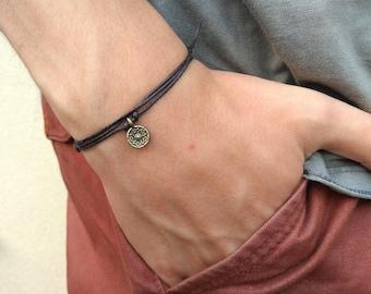 Black cord bracelet for men, men's pendant bracelet, bronze antique charm, anniversary gift for him, handmade bracelet, mens metal bracelet