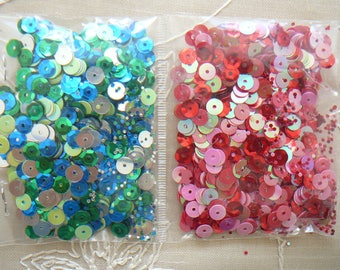 Assortment of blue, green SEQUINS, pink, red, silver