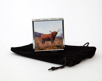 Highland Cow Square Pill Box