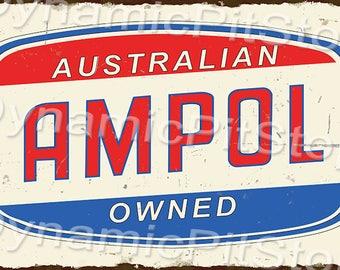 60x40cm Ampol Rustic Tin Sign