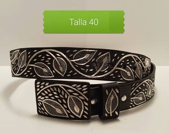 Handmade Leather Belt hand embroidered with silver thread. Real hand crafted belt in silver thread. Made in mexico