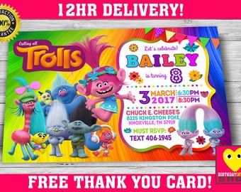 Trolls Birthday Invitation with FREE Thank you Card!