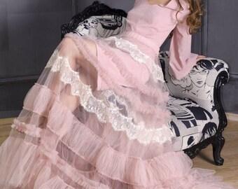 Blush tulle transparent  bridal Overskirt for wedding dress, blush tulle  overskirt for bridal dress, transperent overskirt, blush skirt.