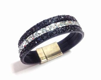 Bracelet black and silver glitter
