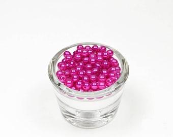 100 pink plastic beads fuchsia raspberry ref 183, 6 mm in diameter