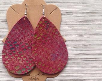 Teardrop Leather Earrings, Pink Snake Skin Leather, Statement Earrings, Boho