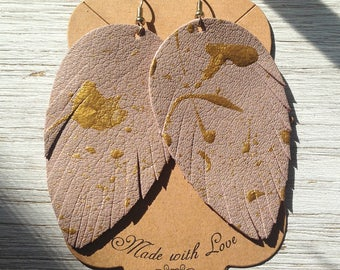 Blush and Gold Leather Feather Earrings, Painted Earrings, Statement Earrings, Boho