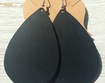 Black Leather Teardrop Earrings, Extra Large Teardrop Earrings, Leather Earrings, Statement Earrings, Boho