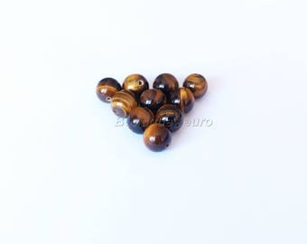(10) 4mm, 6mm (7), 8mm (3), 10mm (2)-beads A Grade Tiger eye