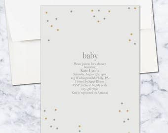 Minimal Simple Baby Shower Invitation, 5x7, Gender Neutral, Digital Download